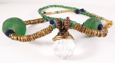 Crystal pendant handmade beaded necklace with green African beads, beadwork