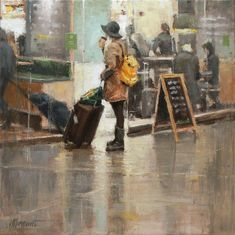 Coffee to go | oil on linen painting by Richard van Mensvoort