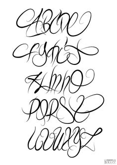 Discover recipes, home ideas, style inspiration and other ideas to try. Calligraphy Tattoo Fonts, Tattoo Lettering Alphabet, Tattoo Lettering Styles, Chicano Lettering, Graffiti Lettering Fonts, Hand Lettering Fonts, Creative Lettering, Typography, Alphabet A