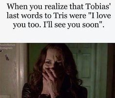 SPOILER ALERT :'( WHY<<< because Veronica Roth is an amazing author who made us get attached to every single character then ripped them away from us Divergent Memes, Divergent Hunger Games, Divergent Fandom, Divergent Insurgent Allegiant, Divergent Trilogy, Insurgent Quotes, Divergent Necklace, Divergent Fan Art, Tris And Tobias