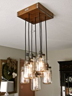 Mason jar chandelier / Mason Jar Pendant Light!