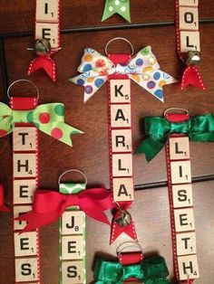 Over 40 of the BEST Homemade Christmas Ornament Ideas - Christmas - Scrabble Ornaments….these are the BEST Christmas Ornament ideas! Diy Christmas Ornaments, Christmas Holidays, Ornaments Ideas, Christmas Recipes, Scrabble Christmas Decorations, Scrabble Ornaments Diy, Diy Christmas Projects, Felt Christmas, Letter Ornaments