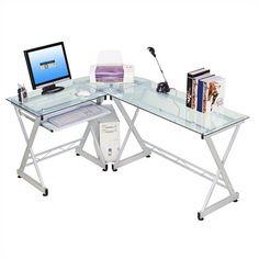 Techni Mobili Tempered Glass L Computer Desk