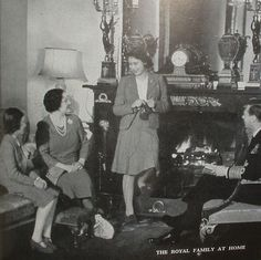 Queen Elizabeth knitting (before she was queen, since her father the king is sitting in that chair on the right)