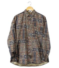Vintage Print Button Front Long Sleeve Shirt by FannyAdamsVC, $25.00