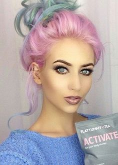 Messy pink rainbow dyed pastel hair updo Amy witham...
