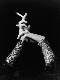 Woman's Hands Holding Cigarette Photographic Print at AllPosters.com -  OK I KNOW it has a Cig in there but love the pic - true 50's Glam
