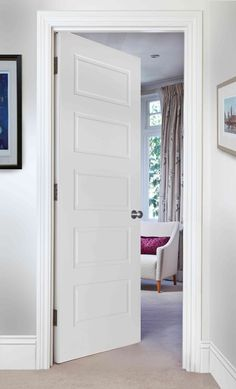 CLASSIC 5-PANEL (BESPOKE) - The Classic panelled range of doors are a traditionally styled range with decorative inset moulding details. The doors are made from man made timber and then pre-primed for onsite finishing. They have a solid core which makes these designs strong and robust products. If you are looking for something simple, yet effective, then look no further. Veneer Door, Wood Veneer, Timber Door, Wooden Doors, Panel Moulding, Fire Doors, Internal Doors, Classic House, Real Wood