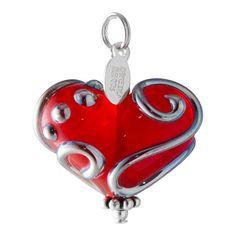 ❤︎ Red Glass Heart. Metallic Swirl Heart. Womens Heart Pendant. Lampwork Heart. Glass Heart. Red Heart Charm. Womens Gift. Heart Jewelry. Studio BB Designs ❤︎