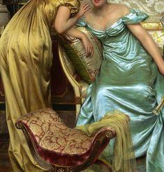 """""""Secrets"""" (detail) by Charles Frédéric Joseph Soulacroix (1825-1900)."""