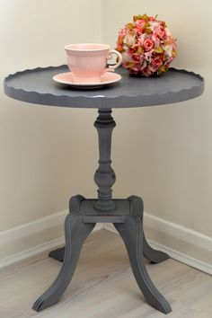 Grey French Vintage Side Table / Shabby Chic