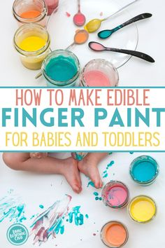 two ingredient finger paint recipe for sensory play for babies and toddlers. edible sensory activity idea for baby