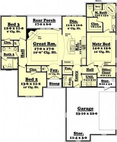 COOL house plans offers a unique variety of professionally designed home plans with floor plans by accredited home designers. Styles include country house plans, colonial, Victorian, European, and ranch. Blueprints for small to luxury home styles. House Plans One Story, Ranch House Plans, Best House Plans, Dream House Plans, Small House Plans, House Floor Plans, Story House, The Plan, How To Plan