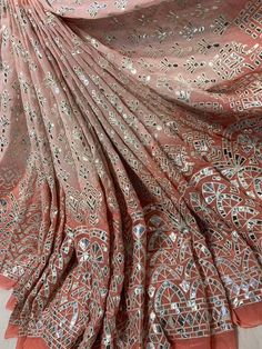Pure viscose shaded georgtte heavy thread embrodiery with gotta patti work available Indian Fashion Dresses, Indian Designer Outfits, Indian Outfits, Indian Wedding Gowns, Desi Wedding Dresses, Designer Sarees Wedding, Designer Party Wear Dresses, Cotton Saree Designs, Lehenga Designs