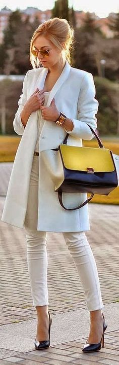 Gorgeous White Coat and Shirt, Blue & Yellow Handbag