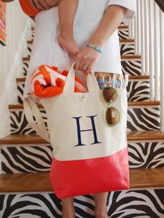 Monogram Color Dipped Canvas Tote $39 monogram included. Also has a crossbody strap!