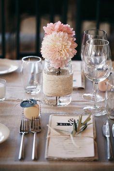 simple mason jar wedding centerpiece