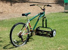 Speaking of bike hacks: How about a mowercycle?  Get exercise while mowing the lawn — without using gasoline!  An Unconsumption reader sent this photo to us some time ago. (The source has since made the photo private on Flickr.)  We always love getting tips and suggestions. Is there something Unconsumption-y you think we should be aware of? Let us know via our Facebook page, Twitter (@Unconsumption us), Instagram (tag photos #unconsumption), Pinterest, or e-mail (unconsumption [at] gmail).