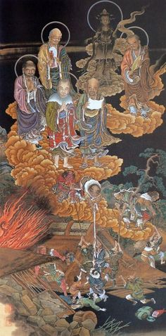 The scroll The Seven Misfortunes -Earthquake from The Five hundred Arhats (Gohyaku Rakan zu, 五百羅漢図) by Kanō Kazunobu (狩野 一信, 1816 – November Art Painting, Sculpture Art, Chinese Buddhism, Buddhist Art, Painting, Illustration Art, Art, Buddha, Chinese Art