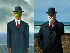 """""""The Son of a Man Painting"""" Parody Rene Magritte 1964 Surrealism I chose this parody because it resembles our society today and is very modern."""