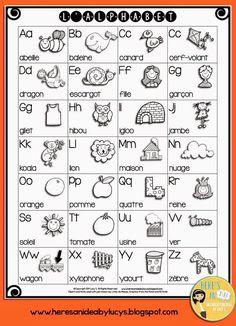FREE B&W French Alphabet Chart #francais