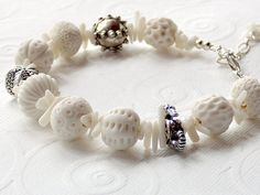 Sea Urchin Porcelain Round Beads White Bamboo Stick by stoutdg2, $89.00
