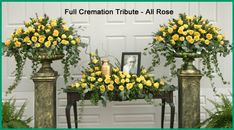 Funeral Flowers For Cremations | All White Garden Full Cremation Tribute includes cremation arrangement ...