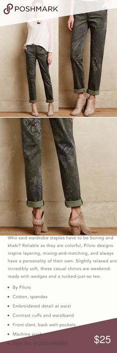 "Anthropologie Pilcro Paisley Crop Pants ✔️99% Cotton•1% Spandex ✔️inseam: 30"" uncuffed ✔️Excellent Used Condition Anthropologie Pants"