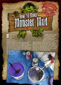 Monster mud recipe for outdoor Halloween props. Halloween Town, Halloween Projects, Diy Halloween Decorations, Holidays Halloween, Halloween Crafts, Happy Halloween, Halloween Graveyard, Halloween Stuff, Diy Halloween Props