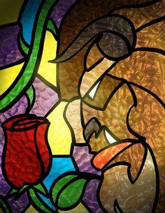 30 Days of Disney - Beast by crimsondespot on DeviantArt Disney Stained Glass, Stained Glass Christmas, Stained Glass Designs, Stained Glass Patterns, Stained Glass Art, Disney Beast, Disney Beauty And The Beast, Pinturas Disney, Art Sculpture