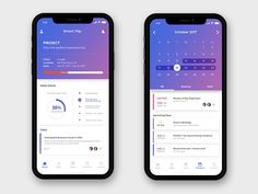 iPhone x - Dashboard and Calendar concept