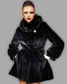 Black Rex Fur Stroller Coat with Mink Collar