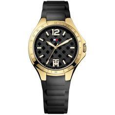 a4e814445fa56 Tommy Hilfiger Black Womens Sport Gold-Tone And Black Silicone Strap... (