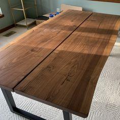 Walnut Veneer, Wooden Tables, Black Metal, Home Interior Design, Dining Table, Furniture, Home Decor, Industrial, Study