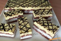 bounty řezy na menší pleh Slovak Recipes, Czech Recipes, Ethnic Recipes, German Desserts, Cake Bars, Breakfast Dessert, No Bake Cake, Afternoon Tea, Tiramisu