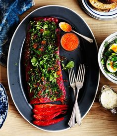 Beetroot-cured ocean trout with buttermilk (goat curd) and soft herbs recipe - Gourmet Traveller Fish Dishes, Seafood Dishes, Seafood Recipes, Gourmet Recipes, Healthy Recipes, Trout Recipes, Herb Recipes, Salad Recipes, Fish Recipes For Good Friday