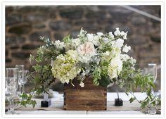 wood box floral centerpiece