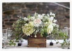 wood box floral centerpiece