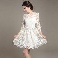Fashion New Elegant Womens Trendy Lace Sunflower Pattern 3/4 Sleeve Ball Dress White