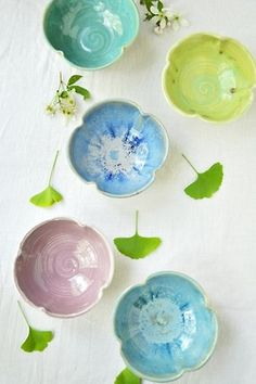 Wheel Thrown Flower Bowls from Lee Wolfe Pottery