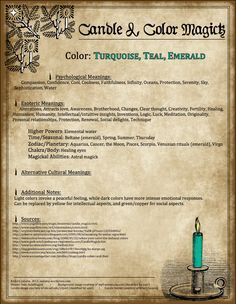 ☆ Candle Magic: Turquoise = Teal or Emerald ☆