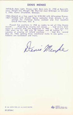 1968 Dexter Press Houston Astros #9 Denis Menke Back