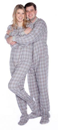 Big Feet Pajamas Adult Gray Plaid Flannel One Piece Footy  44 - SHOP https   2d9978221