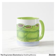 The Frog Lovers Illustration Mug Wildlife Paintings, Wildlife Art, Diy Gifts, Handmade Gifts, Unique Gifts For Men, Grandpa Gifts, Gifts For Father, Coffee Mugs, Illustration Art