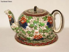 Antique Royal Doulton Chrysanthemum Pattern Teapot with Stand D2225 | eBay