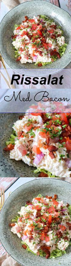 En lækker rissalat med masser af bacon og grøntsager. Nyd rissalaten til frokost, aftensmad, i madpakken eller på picnic! Den smager så skønt med en lækker dressing, purløg, tomat, rødløg og masser af bacon. #Rissalat #Ris #Aftensmad #Bacon Ris, Picnic, Bon Appetit, Bacon, Lchf, Clean Eating, Foodies, Clean Meals, Eat Healthy