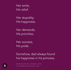 Love Parents Quotes, Father Love Quotes, Dad Quotes From Daughter, Mom And Dad Quotes, Family Quotes, Mother Daughters, Girly Quotes, Mood Quotes, Cute Quotes