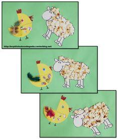Bricolage enfants pour Pâques. Mouton pop-corn et son copain poussin