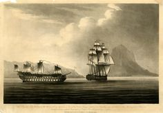 The frigate Naiad under full sail, with HMS Belleisle in tow off Gibraltar, the latter with improvised sail.  1806 Aquatint