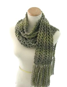 Green Scarf, Hand Knit Scarf, Knit Scarf, Bulky Scarf, Fashion Scarf, Winter Scarf, Fiber Art, Lacy Scarf, Gift Ideas, Fall Scarf, - pinned by pin4etsy.com